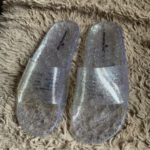 Cute clear sparkly jelly slides
